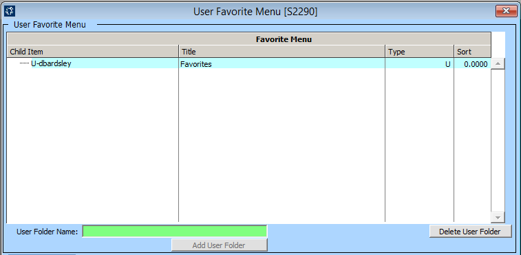 User Favorite Menu Screen [S2290]