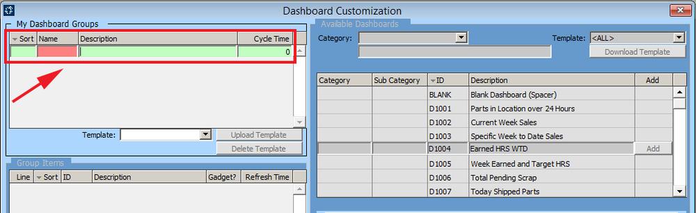 dashboard customization screen