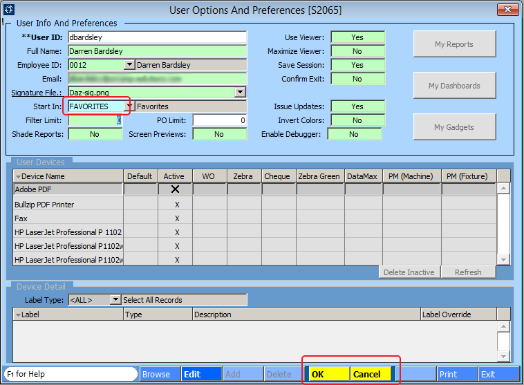 User Options and Preferences