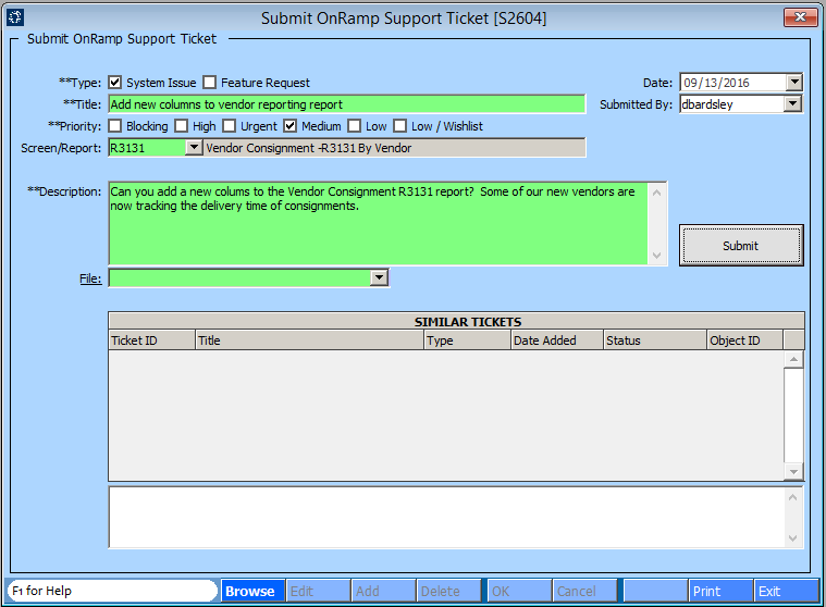 Submit Sending a Support Ticket to OnRamp