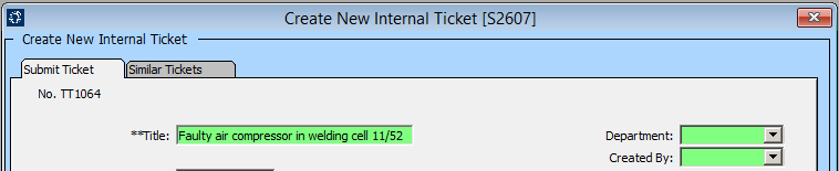 Creating a New Internal Ticket