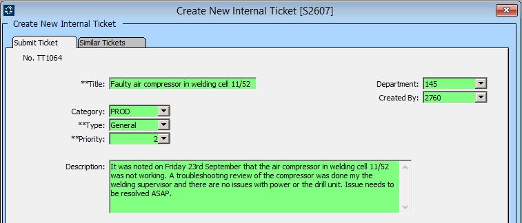 Create New Internal Ticket