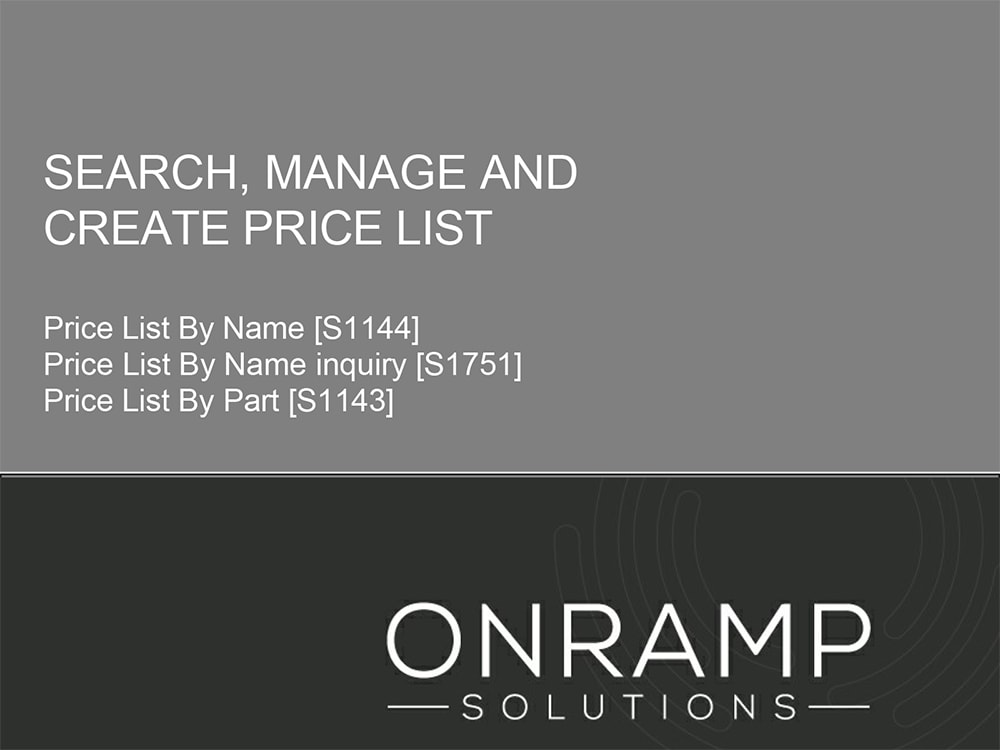 New Price List Tutorial Available