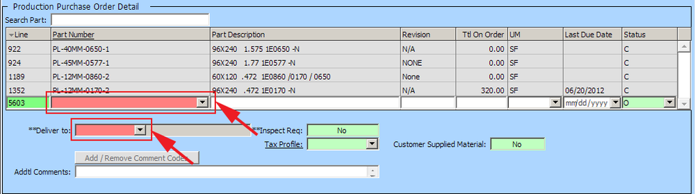 Production Purchase Order Detail