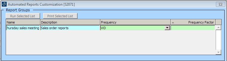 Automate Reports Customization [S2071] screen