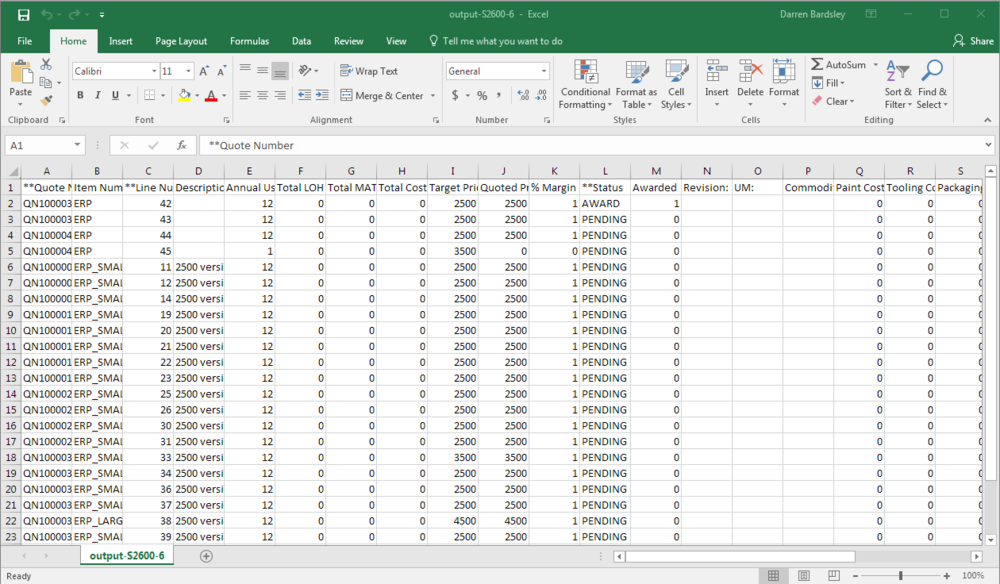 Excel Report of Quote Items