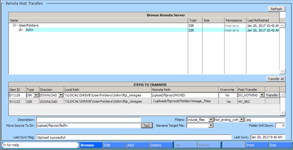 File Transfer Management Feature