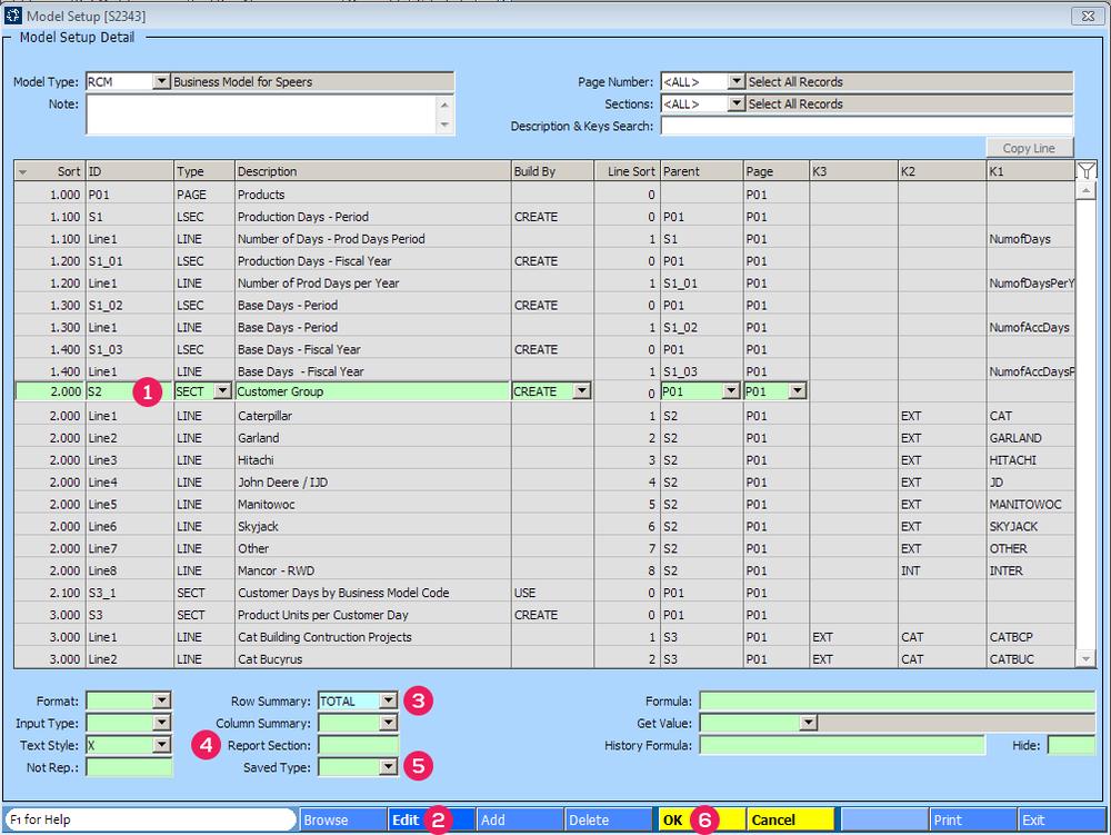 Model Setup [S2343] screen