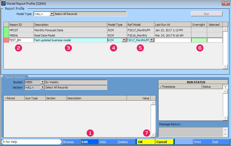 Model Report Profile [S2644] screen
