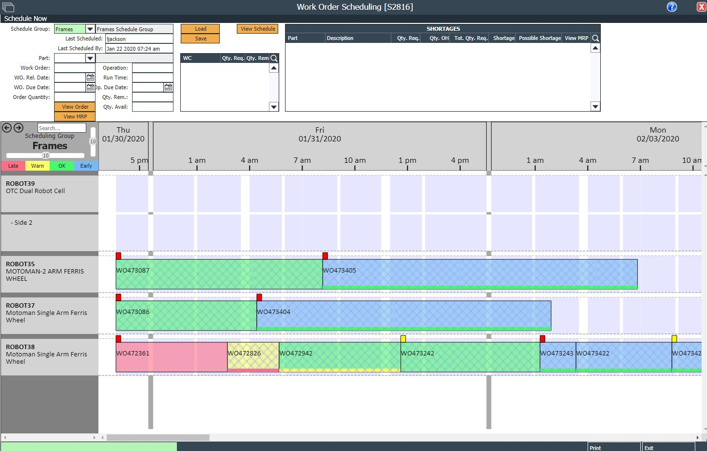 Drag And Drop Work Order Scheduling